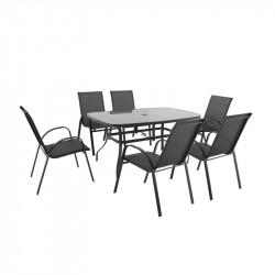 VERONA 6+ zahradní sestava nábytku z kovu 6x židle + 1x stůl