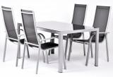 EDINA 4+ sestava z hliníku 1x stùl Ryan + 4x židle Paola