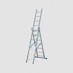 Žebřík 3x11 trojdílný hliníkový 6,7m s úpravou na schody XT611 + Pavouk