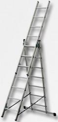 Žebřík 3x9 hliníkový 5,53m s úpravou na schody XT609 + Pavouk