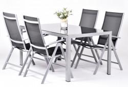 ELIANA 4+ zahradní sestava stůl, 4x křeslo hliník