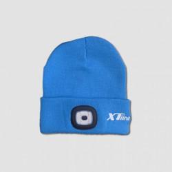 Čepice s čelovkou modrá, nabíjecí přes USB, UNI velikost, XTline