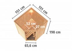 KARIBU LARIN finská sauna vnitøní 1,51x1,51m bez topidla