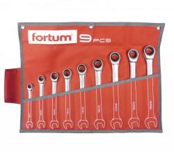 8-19mm klíče ráčnové očkoploché 9ks FORTUM 4720104