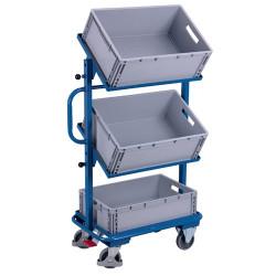 Vychystávací vozík VARIOfit, sklopné police + pøepravky