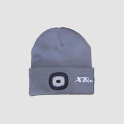 Čepice s čelovkou šedá, nabíjecí přes USB, UNI velikost, XTline