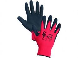 ALVAROS povrstvené rukavice červeno-černé 1 pár - PRODEJ PO 12 párech