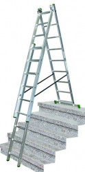 Žebřík 3x9 trojdílný hliníkový 5,3m s úpravou na schody PROTECO + Pavouk