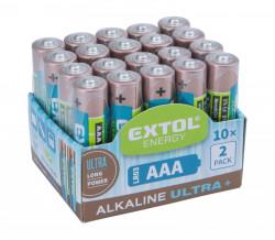 Baterie AAA mikrotužkové LR03 1,5V alkalické 20ks EXTOL