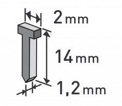 Høebíky 14mm, 1000ks, 2,0x0,52x1,2mm EXTOL