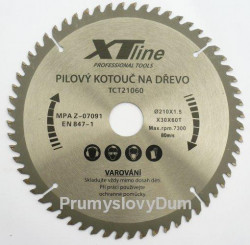 180x2,2x30 (16, 20, 25,4)mm Pilový kotouč 60zubů XTline SK plátky