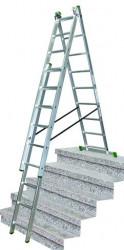 Žebřík 3x10 trojdílný hliníkový 6,15m s úpravou na schody PROTECO + Pavouk