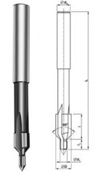 Záhlubník 9,5X4,2 90° pro zápustný šroub M5